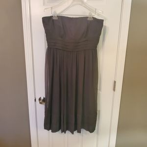 J Crew 100% Silk Grey Chiffon Strapless Dress (16)
